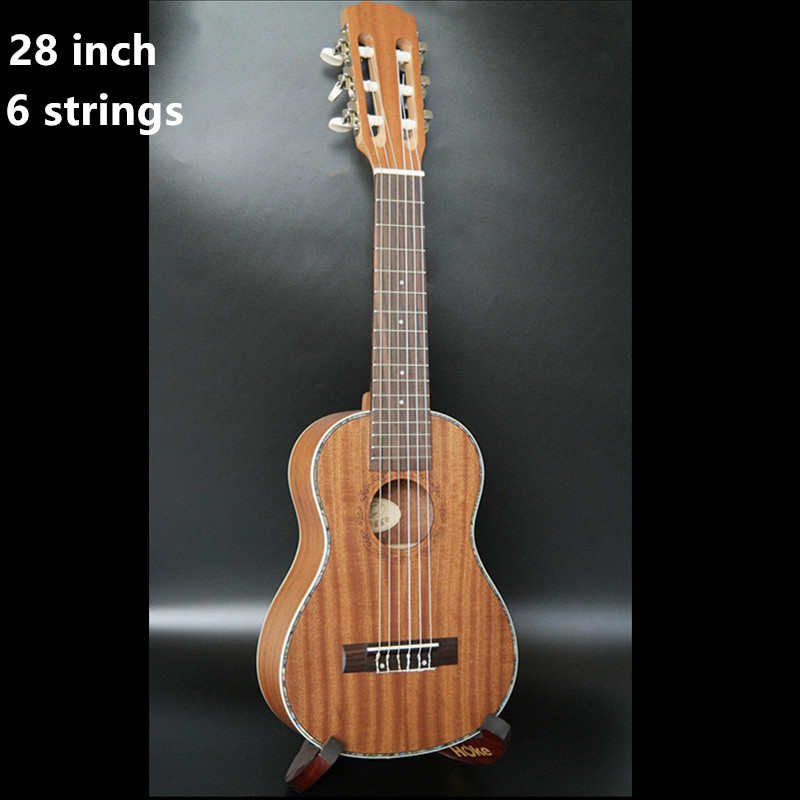 28 Inch Ukulele Mini Guitar 6 Strings Ukelele Hawaiian Sapele Guitar Electric Ukulele with Pickup EQ Stringed music instrument hlby good deal 17 mini ukelele ukulele spruce sapele top rosewood fretboard stringed instrument 4 strings with gig bag 2