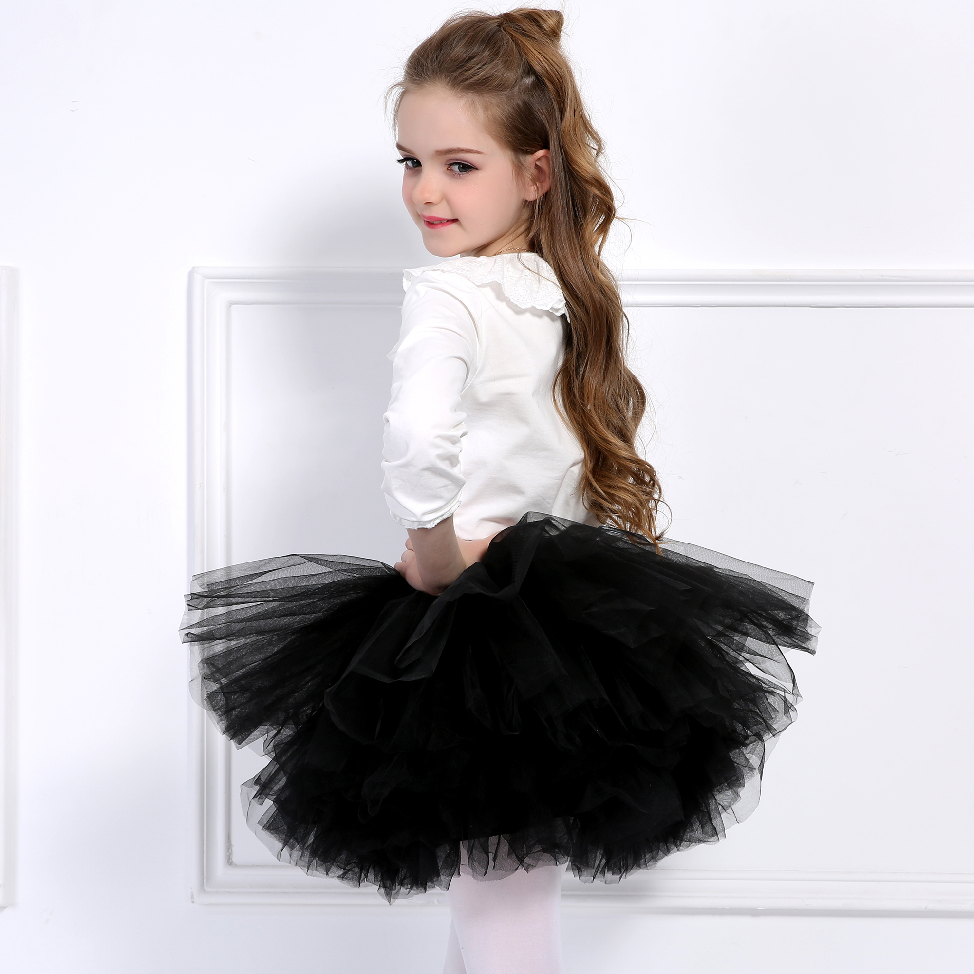 6 Layers Extra Fluffy Baby Girls Pettiskirt Party Tutu Skirt Children Tulle Kids Petticoat Dance Ballet Skirt Costume Princess