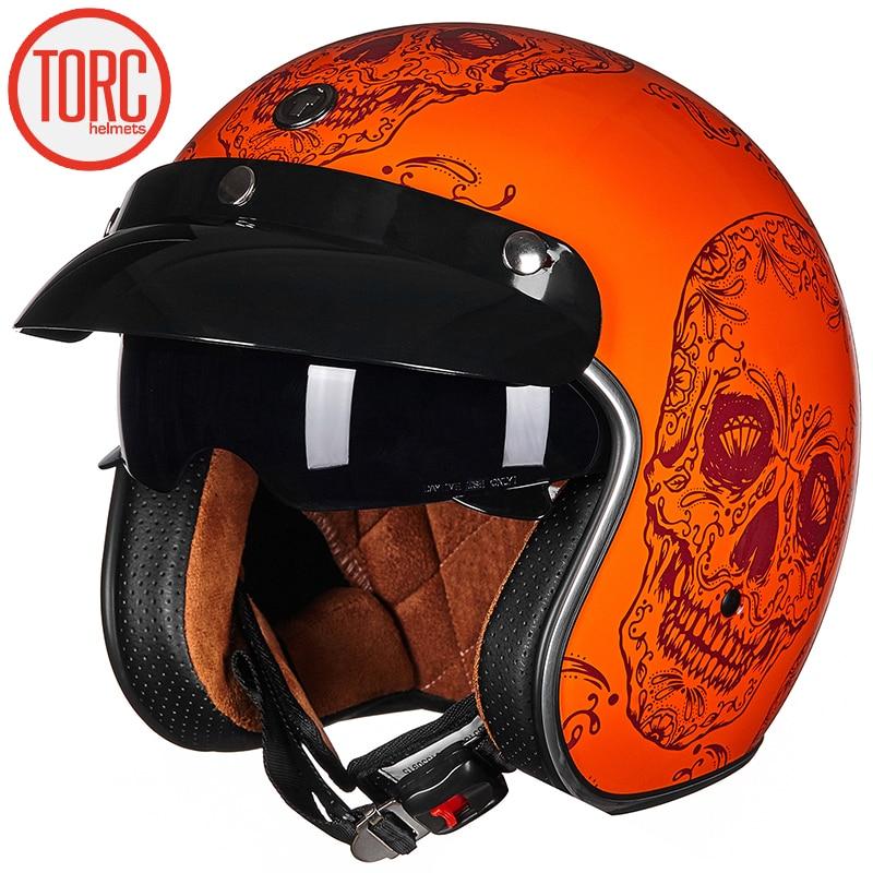 TORC T57 Motorcycle 3/4 Open Face Retro Helmet Motorbike Vintage Half Helmet for Halley Style Motor for Men and Women Summer ECE