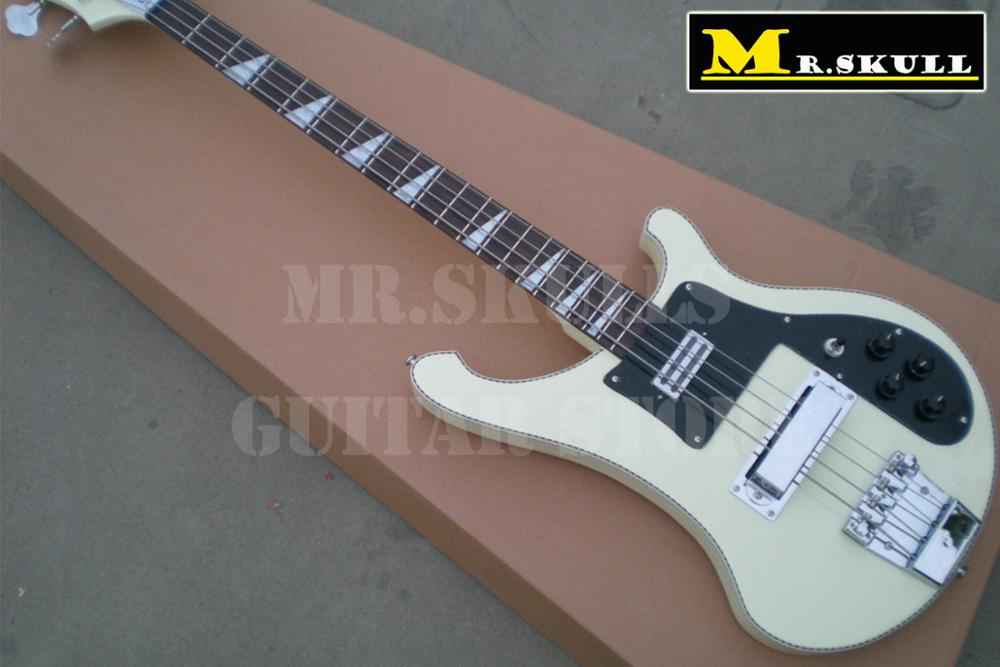 OEM Electric Bass Guitars rickenback 4003 cream bass guitar with white and black binding william control plate with wiring harness and knobs for electric guitars silver black