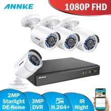 ANNKE Starlight DE-Noise 2MP CCTV Camera System 4pcs 3MP 5IN1 H.264+ DVR FHD 1080P Outdoor Weatherproof Cameras Surveillance Cam