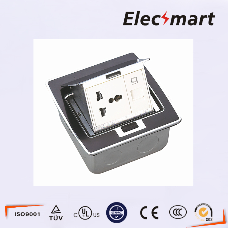 ФОТО Black resin 3Pin multiple function floor socket withh computer plug base