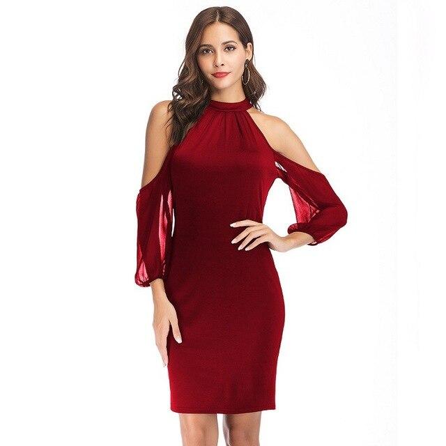 c3ff14cf99 2018 popular style summer new bare shoulder nine cuff chiffon jigsaw seams  sexy women s dress