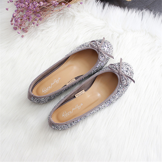 2017 women paillette bow ballet flats fashion bridesmaid party & wedding shoes Free shipping
