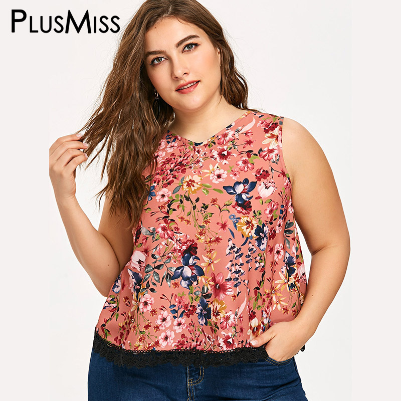 PlusMiss Plus Size 5XL Sexy Overlap Tiny Floral Printed Cropped   Top   Summer 2018 Lace   Tank     Top   Women Clothes Big Size Crop Vest