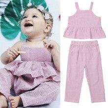 New Newborn Kid Baby Girl Clothes Set Summer Sleeveless Ruffle Stripe Vest Tops Pants Casual Children new
