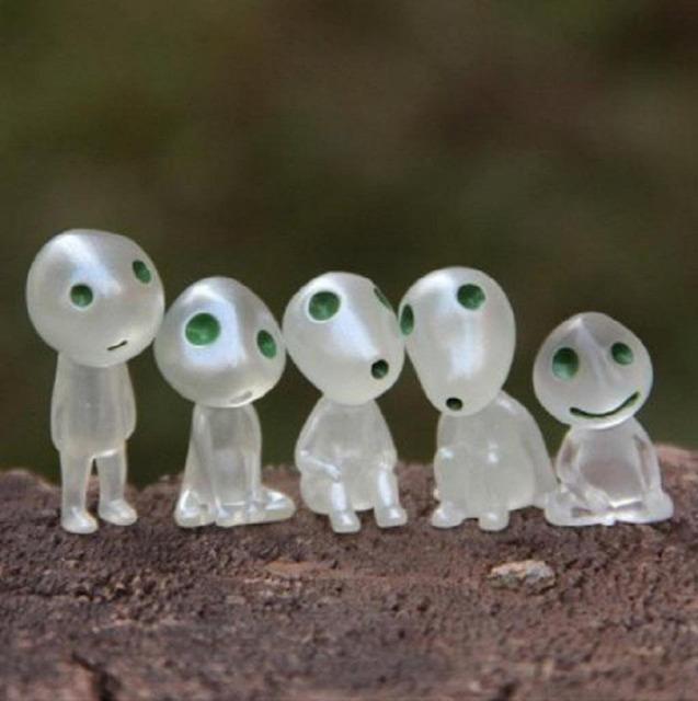 6 unids/lote Princesa Mononoke Kodama Árbol Luminoso Juguete Elfos Espíritu de Jardinería Maceta Decoración Micro Paisaje Accesorios