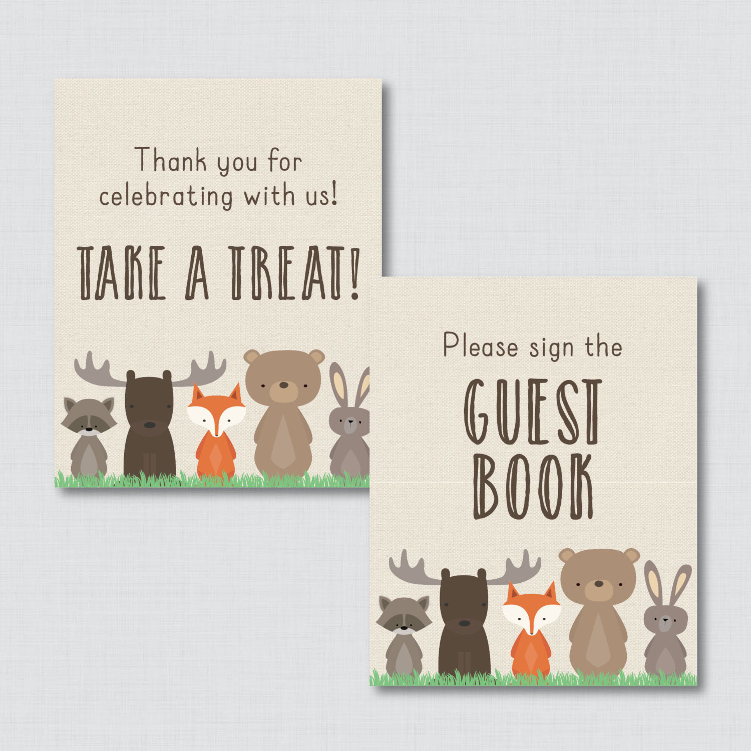 Woodland Baby Shower Table Signs - 6 Signs! Welcome Sign, Favors Sign, etc - Woodland Baby Shower Decor