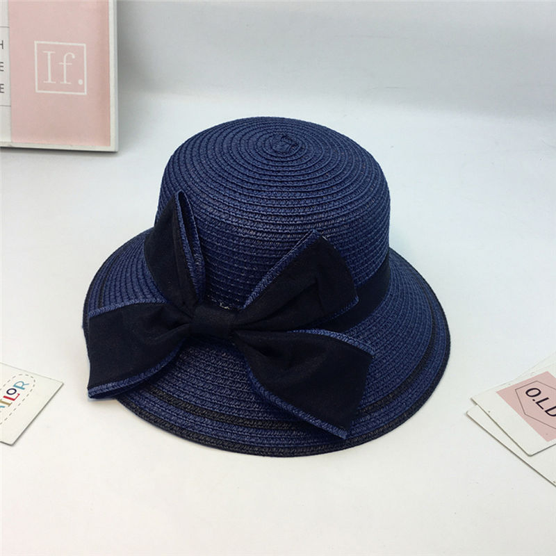 New Women Summer Parent-child Women Casual Daily Baby Kids Girl Beach Bow Straw Flat Brim Sun Hat Cap #4F09 (10)