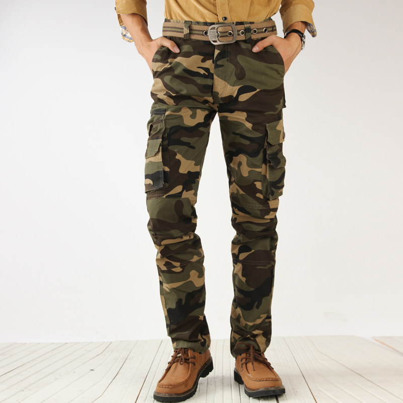 2017 Men's Tactical Pants Fashion Camouflage Cargo Pants Army Green Loose Multi Pockets Cotton Men Trousers Male Army Work Pant
