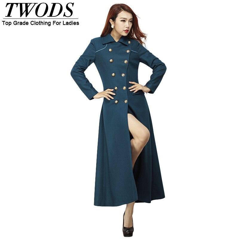Woolen women coats winter fashion 2014 double breasted x long coat with waist beltwomen plus In style winter fashion 2014
