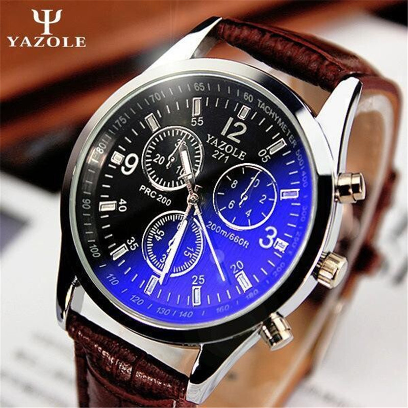 2016 Top Luxury Brand YAZOLE Men Watches Leather Clock Male Quartz Sport Watch Men Casual Military