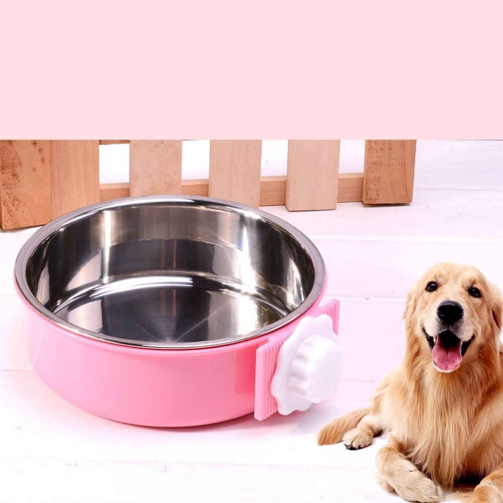 Removable Stainless Steel Pet Bowl Cage Dog Bowl With Bolt Holder Hanging Water Food Feeder Coop Cup For Cat Puppy Bird Pets
