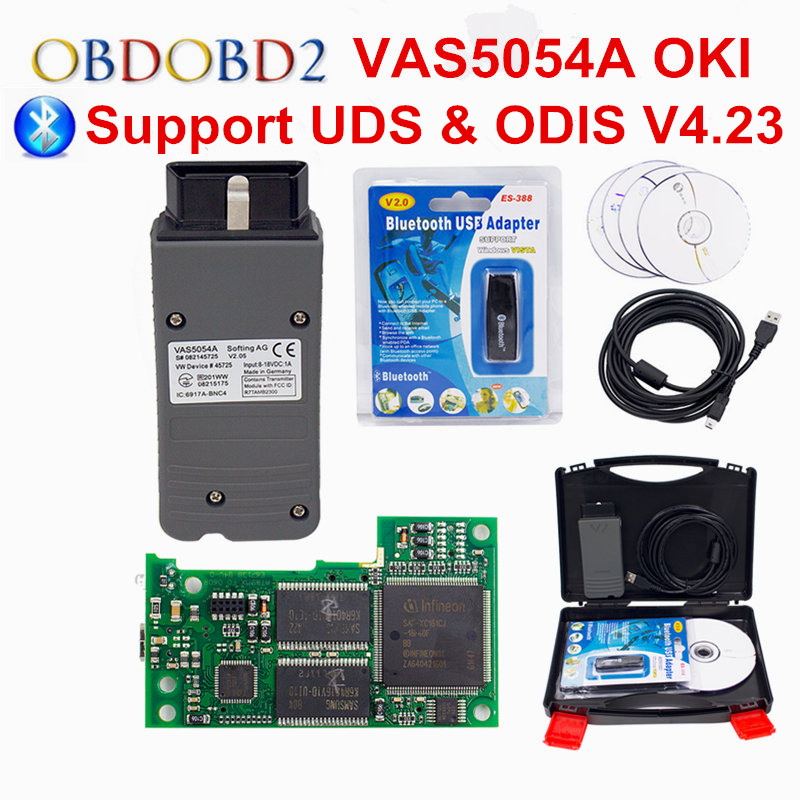 OKI Full Chip VAS 5054A ODIS V4.23 Bluetooth VAS 5054 A Car Diagnostic Tool For VW Seat Skoda For Bentley VAS5054A VAG Scanner 2017 vag com for vw audi seat skoda vag obd2 diagnostic cable with ft232rl atmega162 chip vag can com usb diagnostic interface