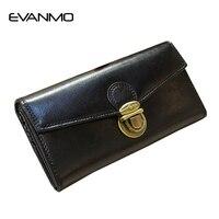 Luxury Lady Purse Genuine Leather Wallet Elegant Green Wallet For Women Hasp Long Female Cards Holder