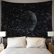 Vintage Luna cielo estrellado galaxia planeta decoración de la pared del hogar tapiz colgante de pared cabecera manta alfombra 150x130 cm negro