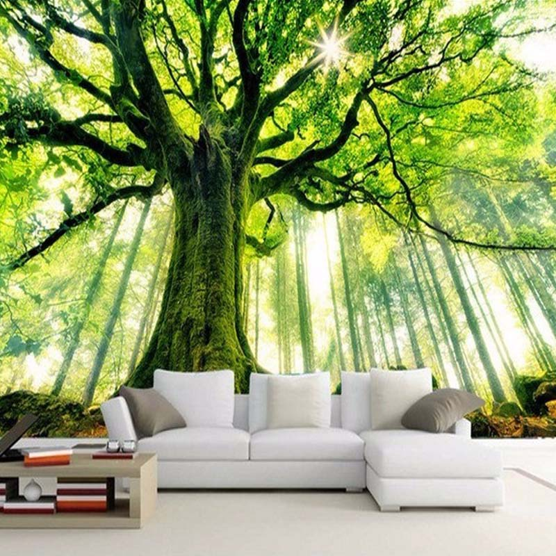 Custom 3D Photo Wallpaper Tree Forest Large Mural Wall Painting Art Living Room Non-woven Fabric Wallpaper For Bedroom Walls custom 3d room mural wallpaper non woven wallpaper senery red maple forest photo living room tv backdrop bedroom photo wallpaper