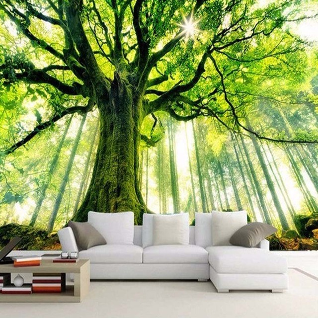 nach 3d foto tapete baum wald gro es wandbild wand malerei kunst wohnzimmer vlies tapete f r. Black Bedroom Furniture Sets. Home Design Ideas
