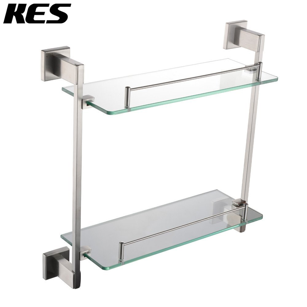 Kes a2420b 2 bathroom lavatory double glass shelf wall - Bathroom shelves stainless steel ...