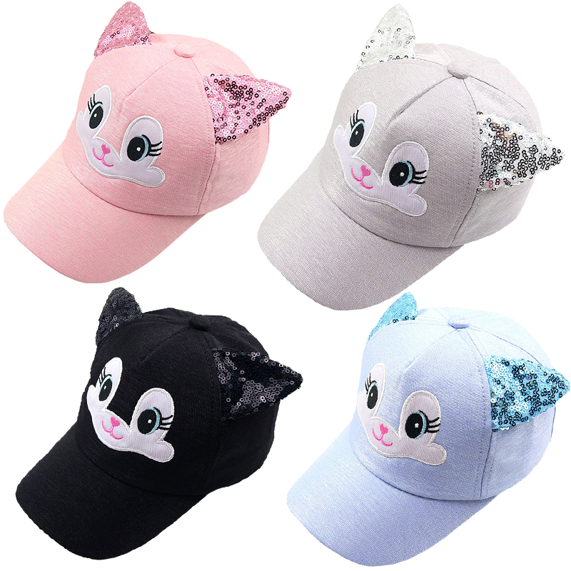 Baby Hat Cartoon Child Korean Cat Ears Cotton Baseball Caps Spring Summer Baby Boy Girl Sun Hats Beanies Kids Photography Props(China)