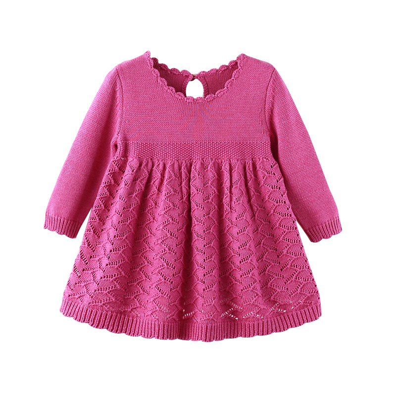 Auro Mesa Girls Princess Knitted Full Sleeve Dress 1 year birthday dress Infant baby girls Clothes Cute baby dress auro mesa blue baby knitting romper 100