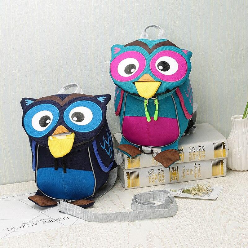 Real Softback Leather Backpack Cross Border New Owl Anti Lost Children's Schoolbag, Kindergarten, And Girls, Shoulder Bag