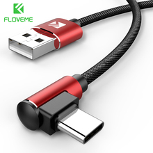 FLOVEME USB Type C Cable 90 Degree Fast Charger For Samsung Galaxy S10 Xiaomi Mi A2 Pocoph