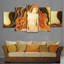 Hand Painted Oil Painting On Canvas Large Nude Paintings Wall Decoration 5 Piece/set Hot Sexi Photo Image Pictures For Home