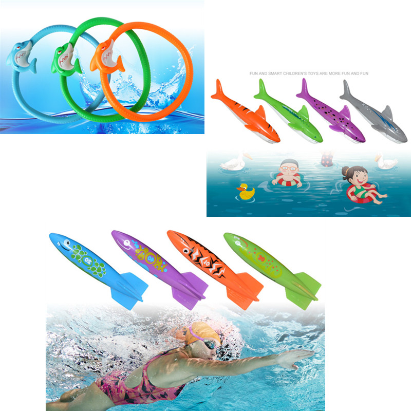 Shark Torpedo Rocket Throwing Toy Swimming Pool Diving Game Toy Underwater Grab Divie Toys For Children Outdoor Water Play Sport