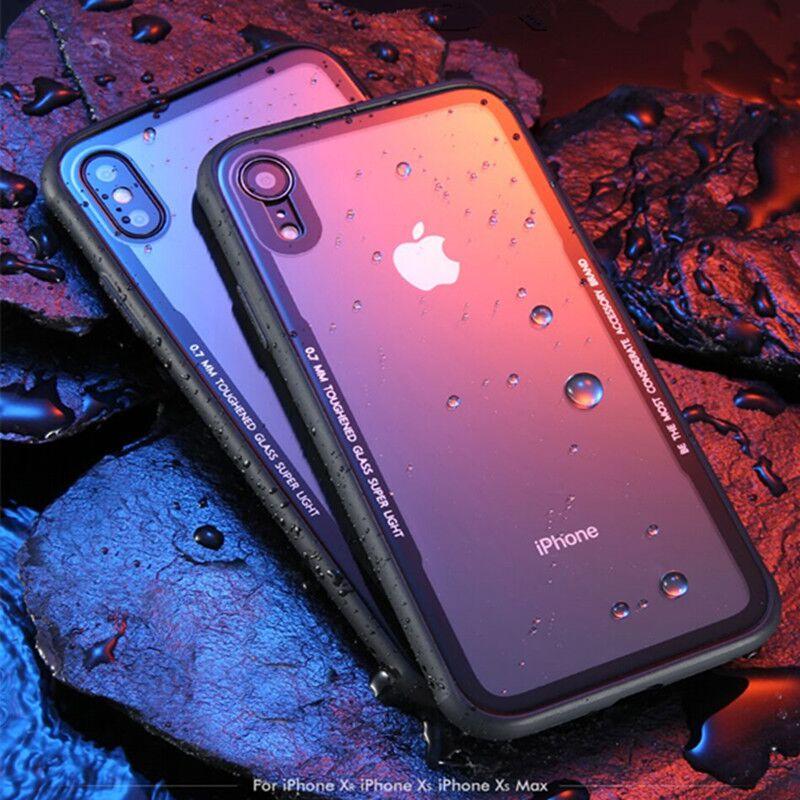 Coque de téléphone en verre trempé Pour iPhone 7 8 XR XS Cas Couvercle En Verre Pour iPhone X XS Max XR 6 6 s Plus 0.7 MM étui de protection Funda