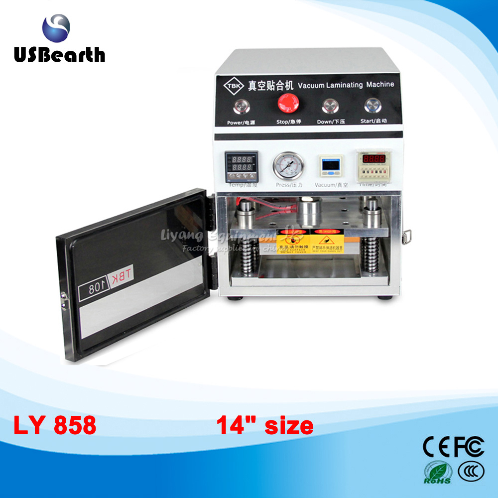 LY 858 oca vacuum laminating machine, OCA laminator  for 14 inch LCD refurbishment,free tax to EU semi auto lcd repair machine ly 948v 3 oca pack c for 7 inch free tax to europe