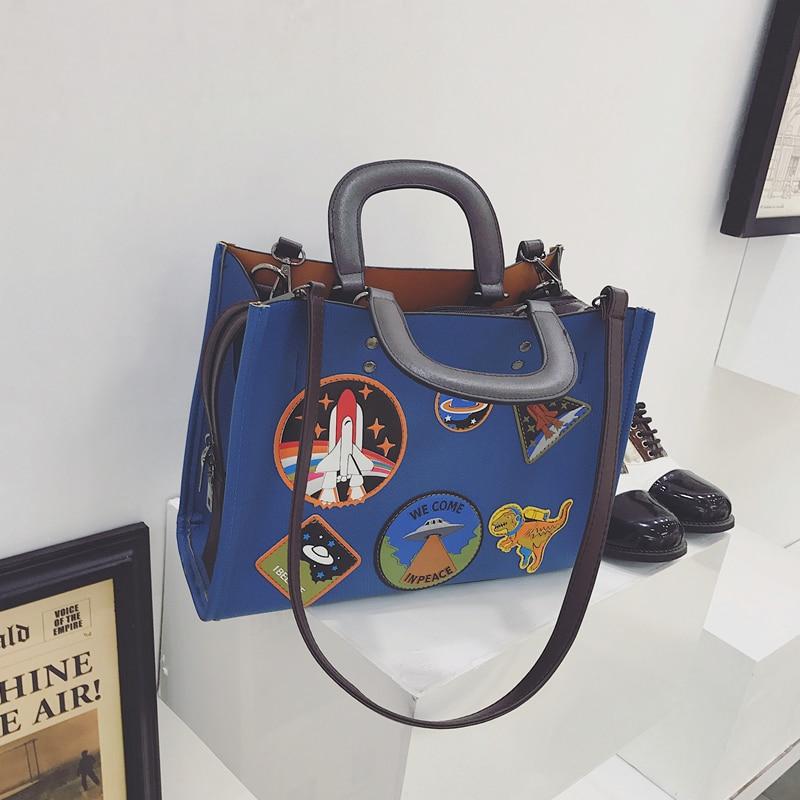 Women Rocket Space Tote Bag Pu Leather Handbag 2018 Autumn And Winter Black Blue Badge Lady Hand Bag Casual Single Shoulder Bag 5