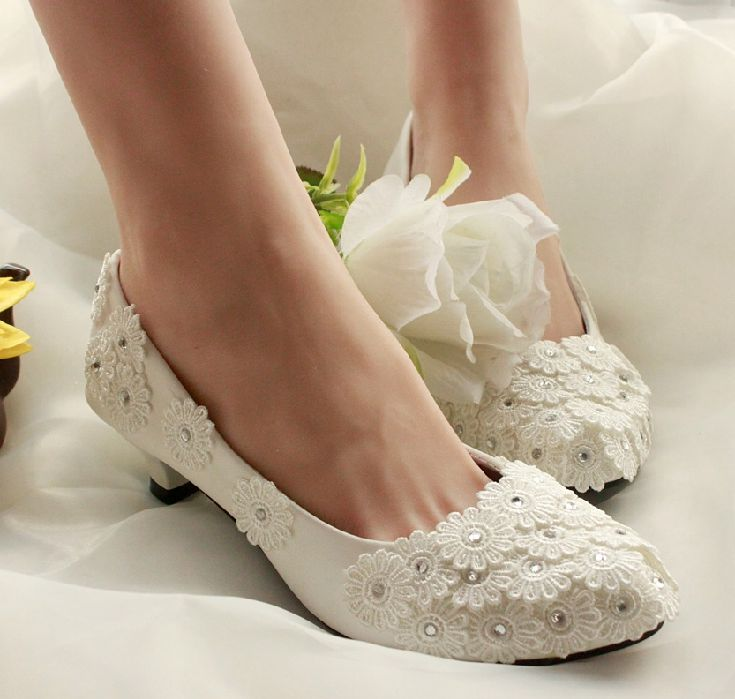 100% hand made wedding shoes white for womens, PR756 lace flowers silver rhinestones bridal low high heel pump, middle heel shoe