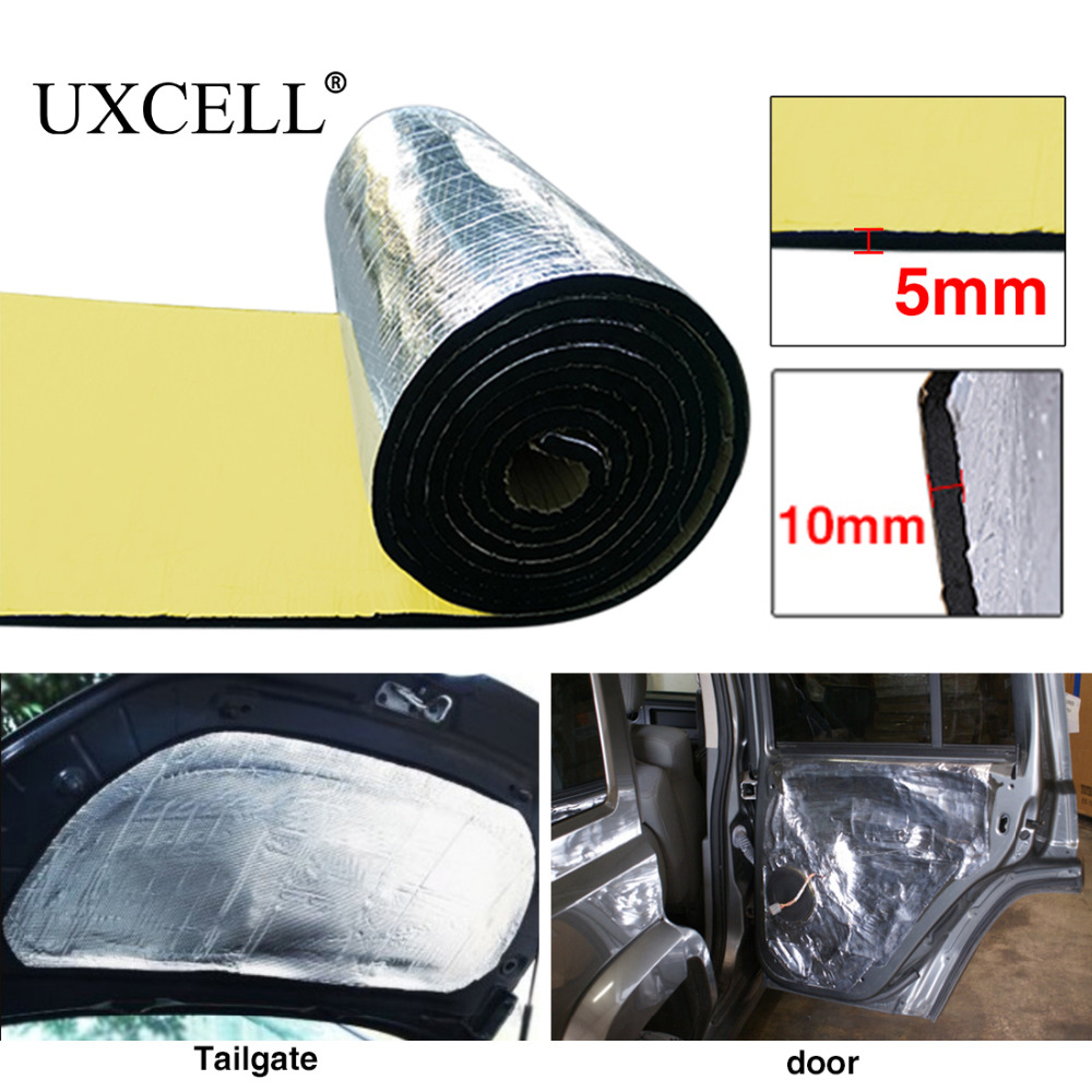 UXCELL 5mm/10mm Thickness Aluminum Foil Car Firewall Indoor Tail Cover Trunk Hood Chassis Heat Sound Deadener Insulation Mat