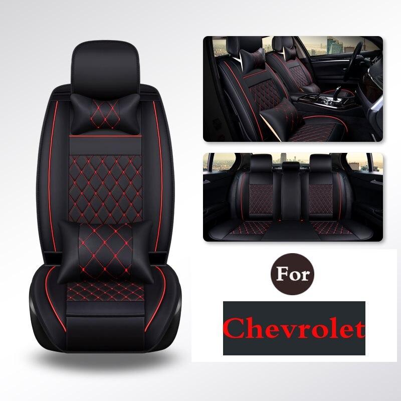 Le siège baquet avant de voiture en cuir PU couvre les tapis de couleur solide 5 pour Chevrolet Cruze Sail Malibu Captiva Traxes Rveo Epica