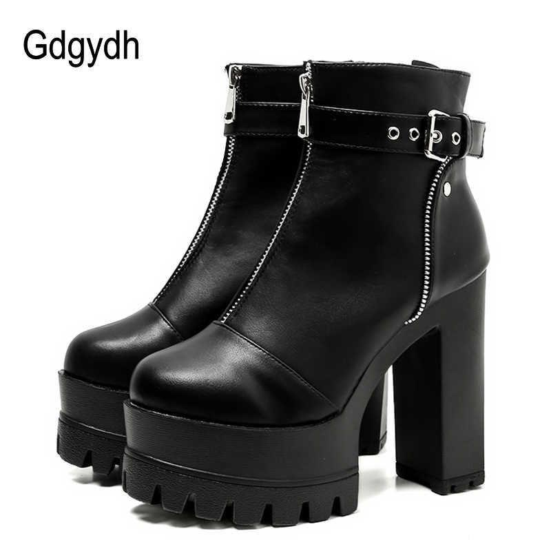 6efdd12092e Gdgydh 2019 Ultra High Platform Heels Women Ankle Boots Black Female High Heels  Leather Shoes Round
