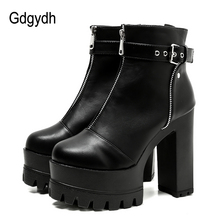 Gdgydh 2019 Ultra High Platform Heels Women Ankle Boots Black Female High Heels Leather Shoes Round Toe Ladies Party Shoe Spring цены