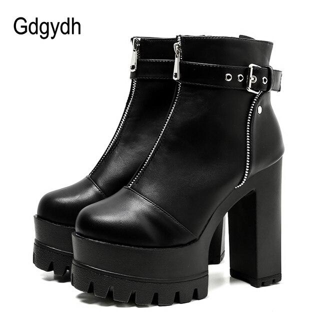 Gdgydh 2019 Ultra Yüksek Platform Topuklar Kadınlar yarım çizmeler Siyah Kadın Yüksek Topuklu deri ayakkabı Yuvarlak Ayak Bayanlar Parti Ayakkabı Bahar
