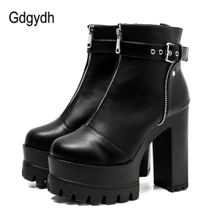 Image 1 - Gdgydh Fashion Zipper Platform Heels Women Ankle Boots Black Female High Heels Leather Shoes Round Toe Ladies Party Shoe Autumn