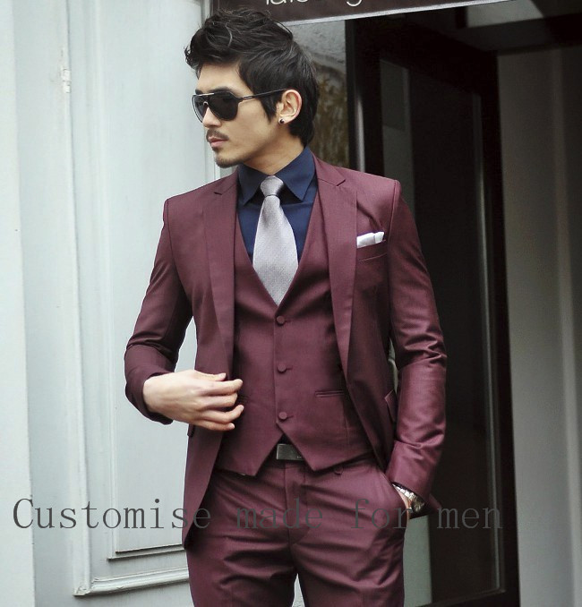Popular Burgundy Suit Mens-Buy Cheap Burgundy Suit Mens lots from ...
