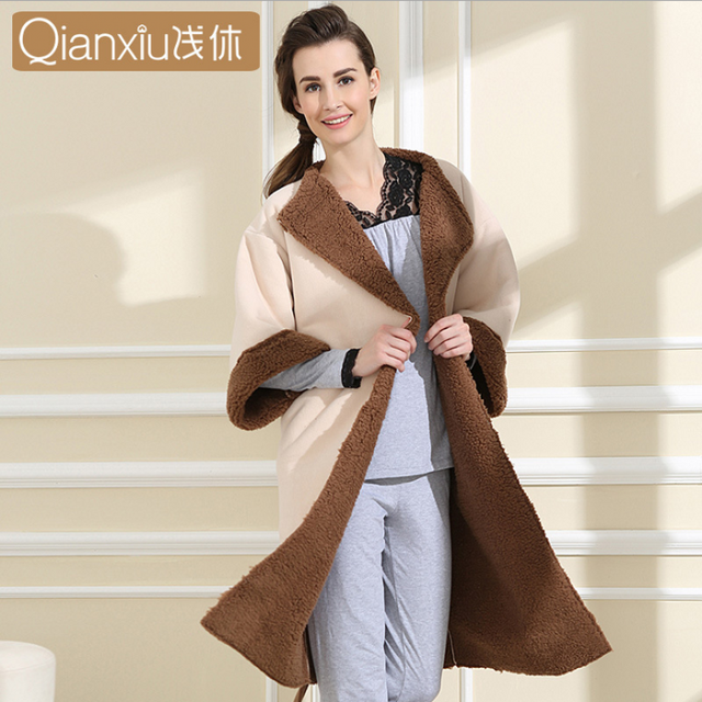 f068e5dfda 2019 Winter Qianxiu Brand Robe Women Cotton Velvet Robes Female Half Sleeve  Plus Size Robe Ladies Warm Fleece Bathrobe with belt