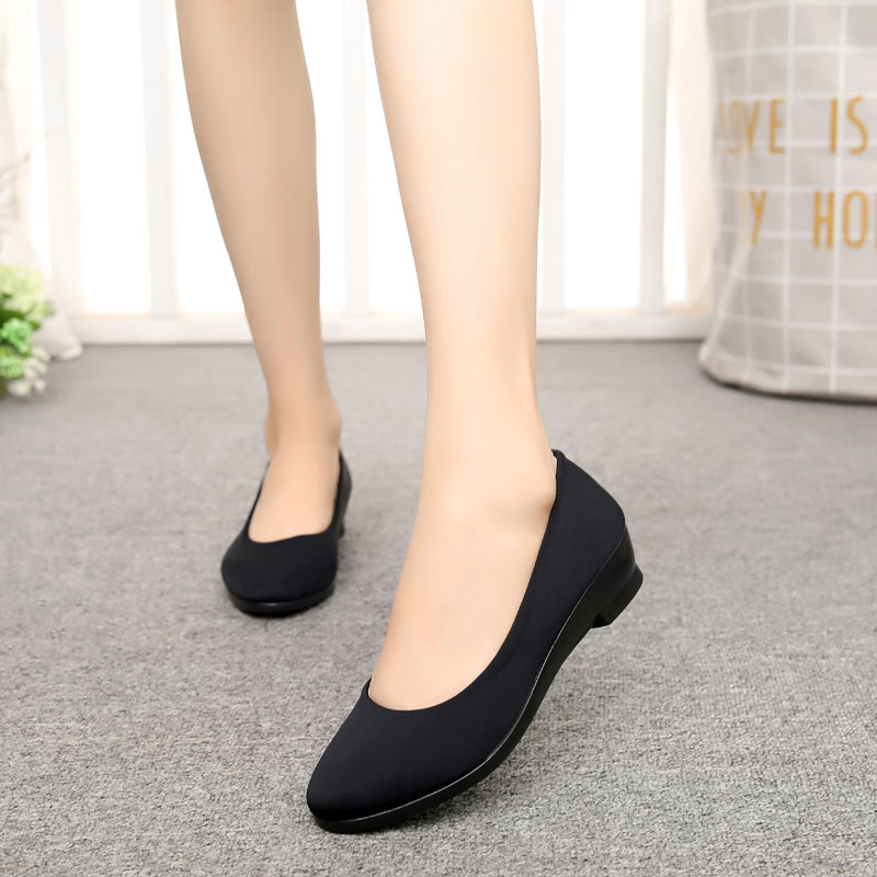 Women Ballet Black Shoes Women Wedges Shoes for Office Work Boat Shoes Cloth Sweet Loafers Women 39 s Pregnant Wedges Shoes in Women 39 s Pumps from Shoes