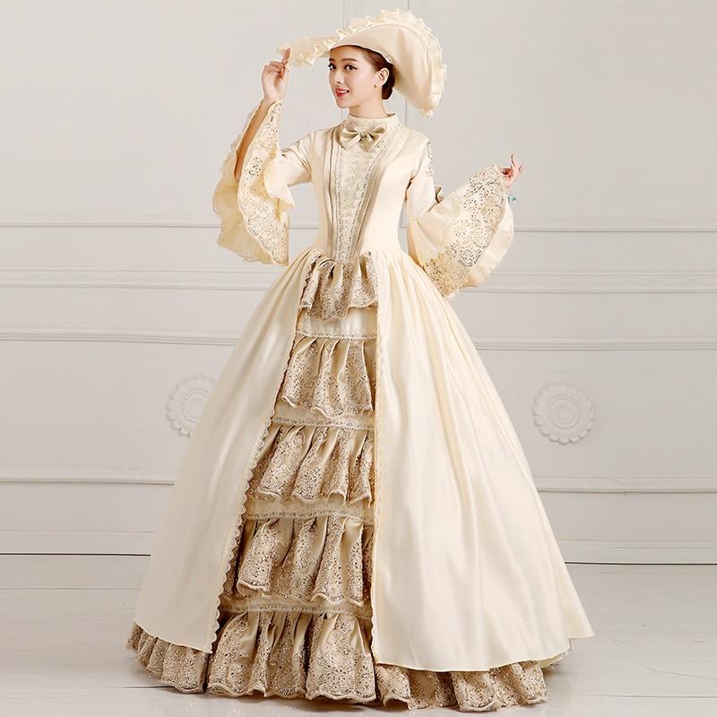 По индивидуальному заказу 2018 со стоячим воротником Rococo платье принцессы цвета шампань с расклешенными рукавами Европейский суд платье для