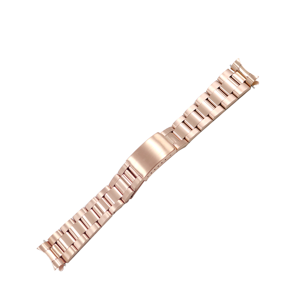 Rolamy Oyster Bracelet Strap Watch-Band Rose-Gold Dayjust 20mm 316l-Stainless-Steel Wholesale
