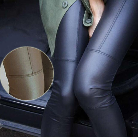 Stor rea ! 2014 Ny Trend Strikking Kvinnors Nio Minuter Byxor Mode Sexig Imitation Leather Slim PU Elastic Leggings 2 Colors