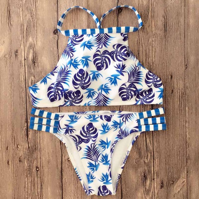 2017 Sexy Ladies White Floral Halter Thong Biquini Swimsuit Swim Beach Wear Bathing Suit Swimwear Women Brazilian Push Up Bikini 2
