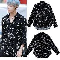 kpop GOT7 Bambam korea music symbols black loose casual long sleeve shirt women hip hop summer cotton Harajuku shirt men clothes
