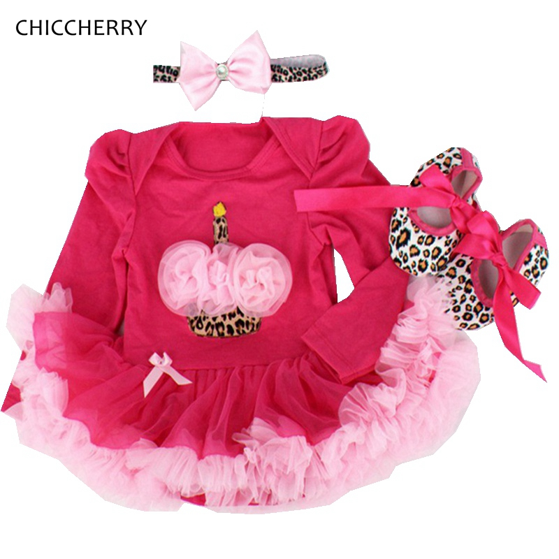 Cupcake Birthday Outfits Leopard Baby Romper Dress Headband Shoes Infant Lace Tutu Set Roupa Bebe Menina Winter Girl Clothes crown princess 1 year girl birthday dress headband infant lace tutu set toddler party outfits vestido cotton baby girl clothes