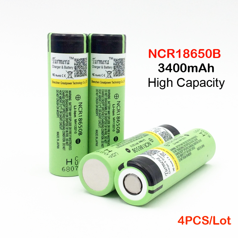 Batterie 18650 D'origine NCR18650B 3400 mah 3.7 V Li ion Rechargeable Pour lampes de Poche/Puissance banque 4 pcs 18650 3400 mah batterie