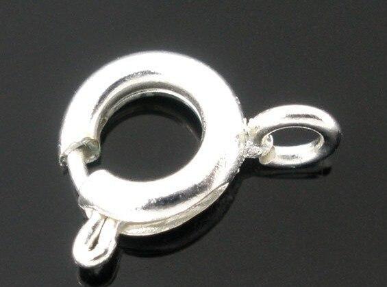 10pcs Argent Plaqué Laiton Boulon De Ressort Anneau Attache Fermoir Collier connecteur 6 mm